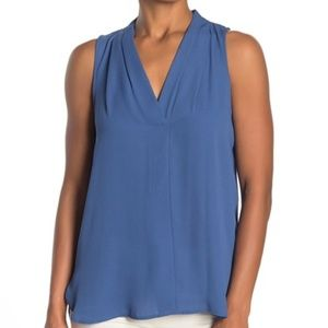 Vince Camuto Blue Solid Sleeveless Hi-Lo Blouse